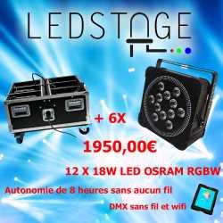 Pack de 6 projecteurs leds sur batterie 12X18W OSRAM RGBW en Flight case chargeur