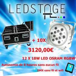 Pack de 10 projecteurs leds sur batterie 12X18W OSRAM RGBW en Flight case chargeur